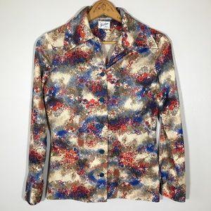 Vintage 70's Pointy Collar Novelty Print Shirt